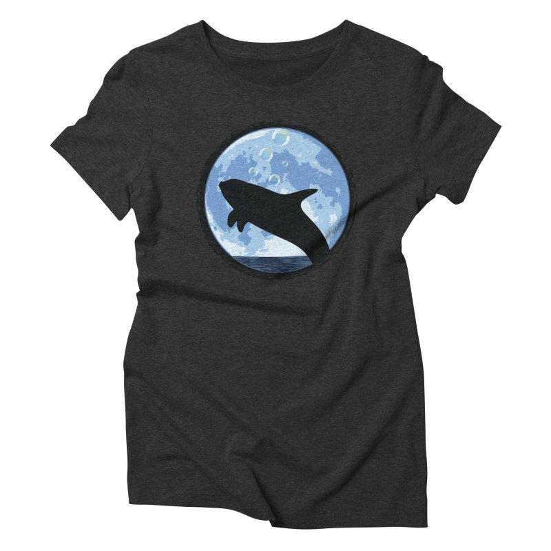 Dolphin Moon Women's Triblend T-shirt by Kamonkey's Artist Shop