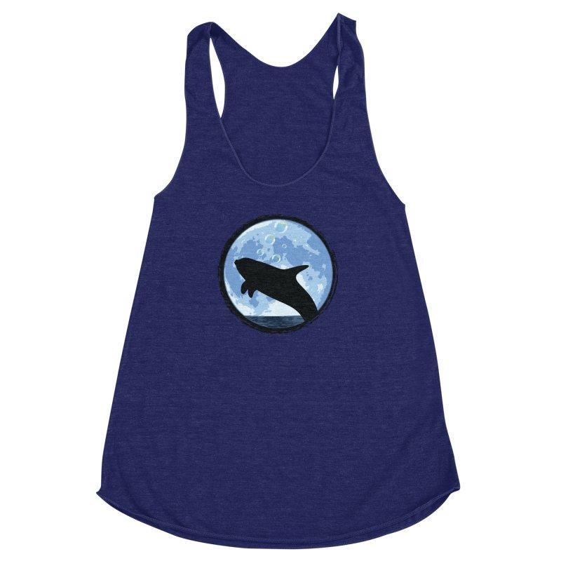Dolphin Moon Women's Racerback Triblend Tank by Kamonkey's Artist Shop