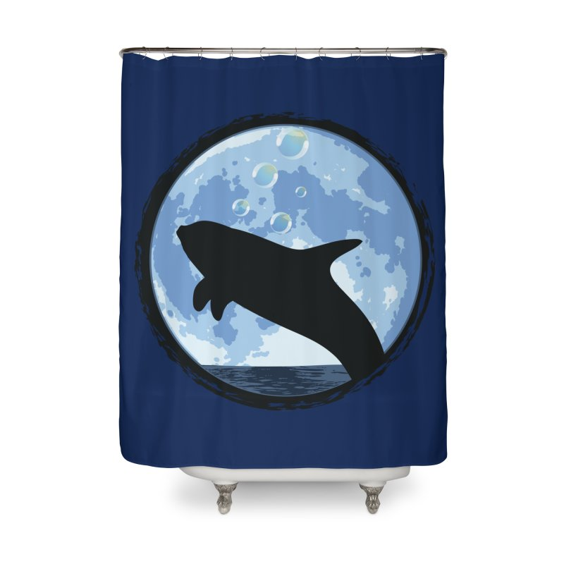 Dolphin Moon Home Shower Curtain by Kamonkey's Artist Shop
