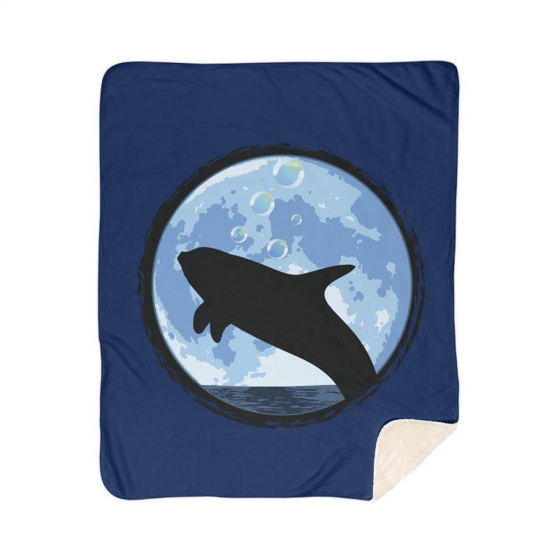 Dolphin Moon Home Sherpa Blanket Blanket by Kamonkey's Artist Shop