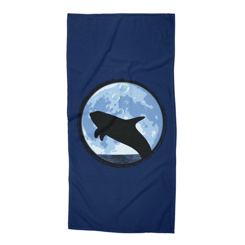 Dolphin Moon Accessories Beach Towel by Kamonkey's Artist Shop