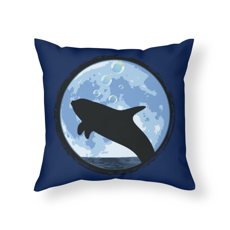 Dolphin Moon Home Throw Pillow by Kamonkey's Artist Shop