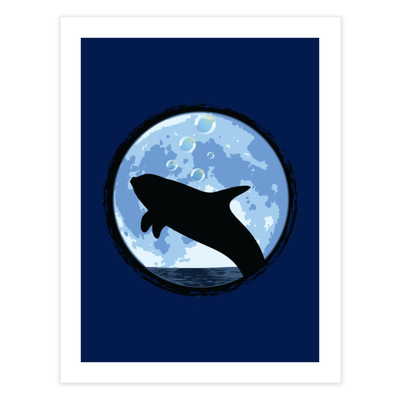 Dolphin Moon Home Fine Art Print by Kamonkey's Artist Shop