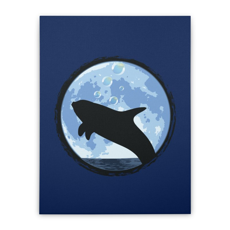 Dolphin Moon Home Stretched Canvas by Kamonkey's Artist Shop