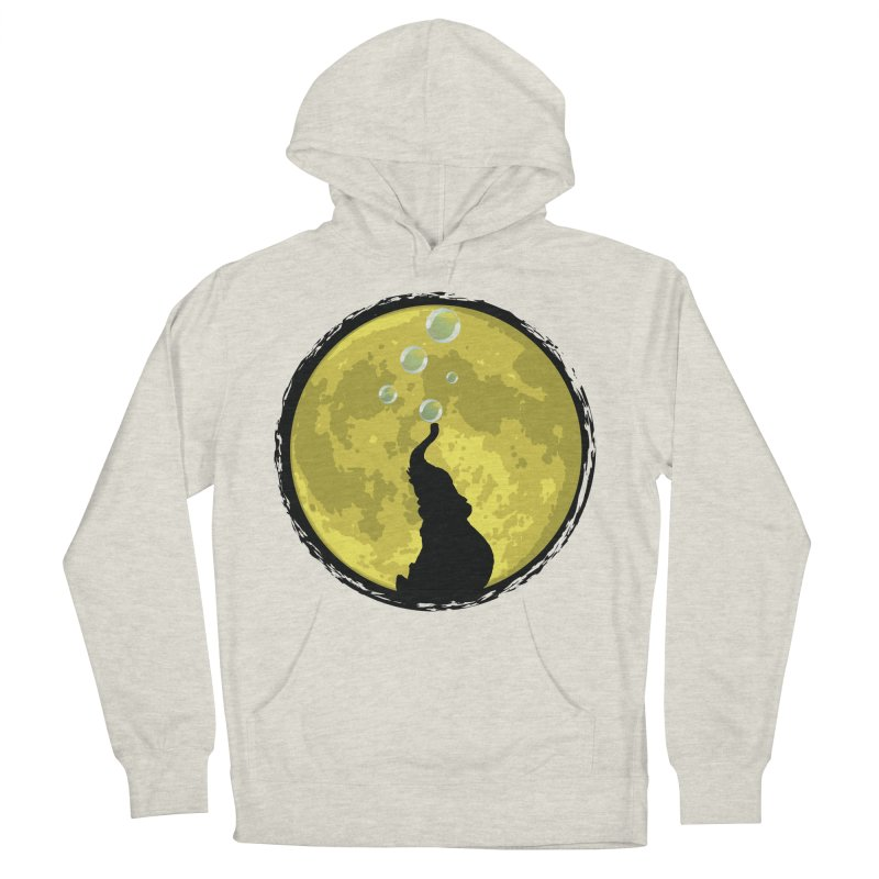 Elephant Moon Men's French Terry Pullover Hoody by Kamonkey's Artist Shop