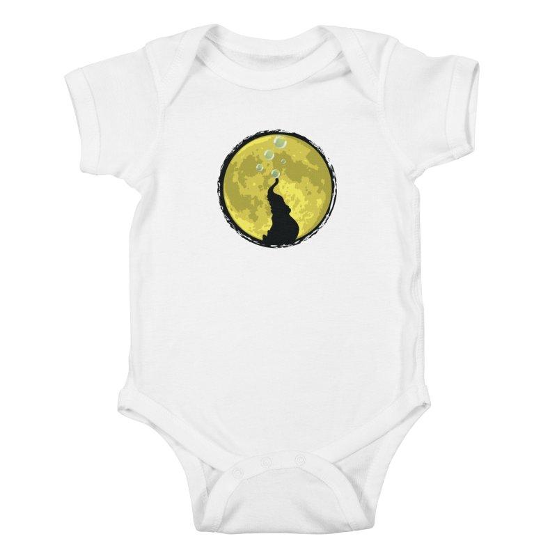 Elephant Moon Kids Baby Bodysuit by Kamonkey's Artist Shop