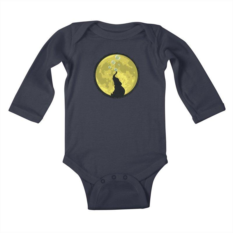 Elephant Moon Kids Baby Longsleeve Bodysuit by Kamonkey's Artist Shop