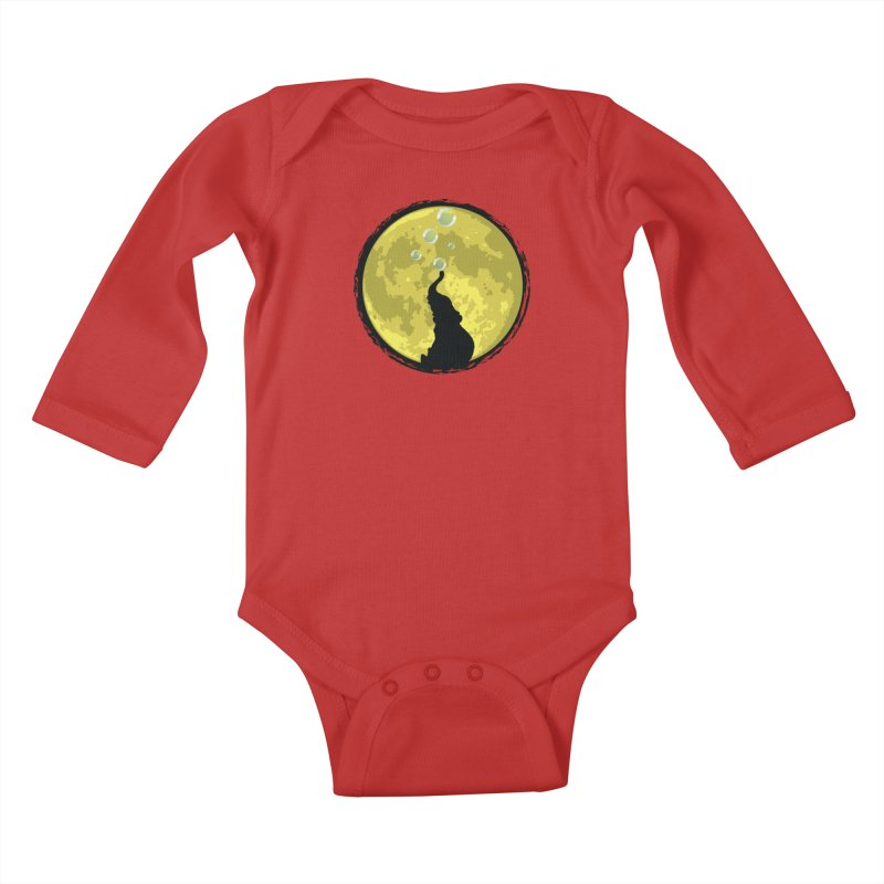 Elephant Moon Kids Baby Longsleeve Bodysuit by Kamonkey's Artist Shop