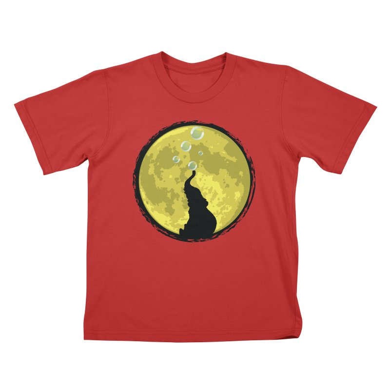 Elephant Moon Kids T-Shirt by Kamonkey's Artist Shop