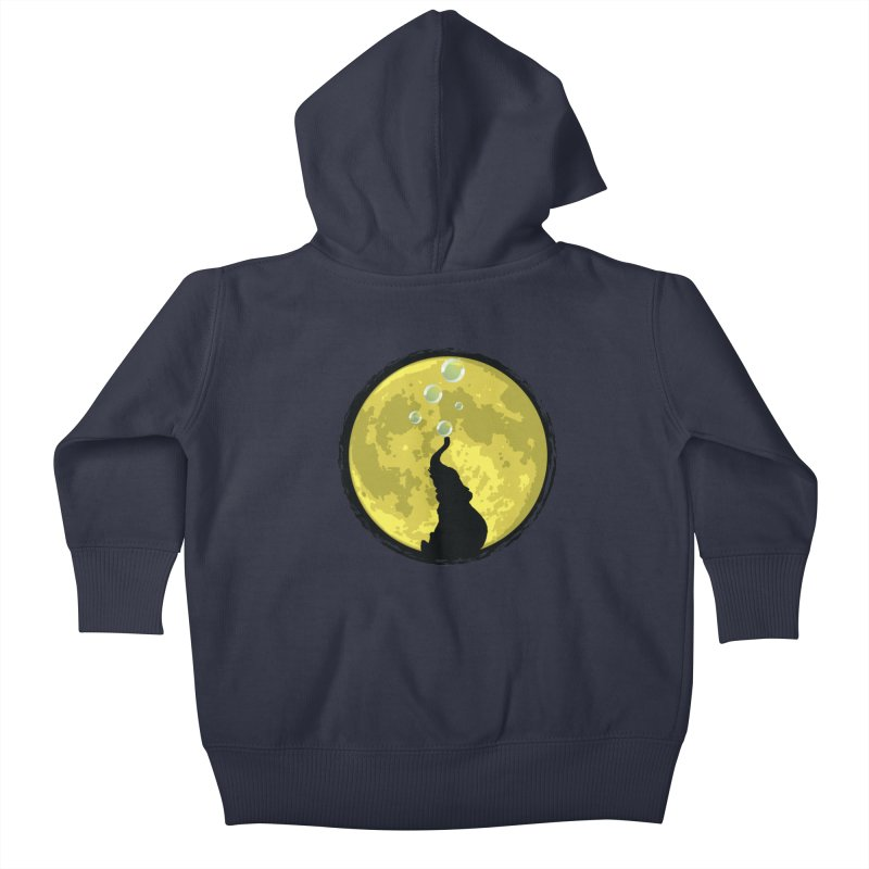 Elephant Moon Kids Baby Zip-Up Hoody by Kamonkey's Artist Shop