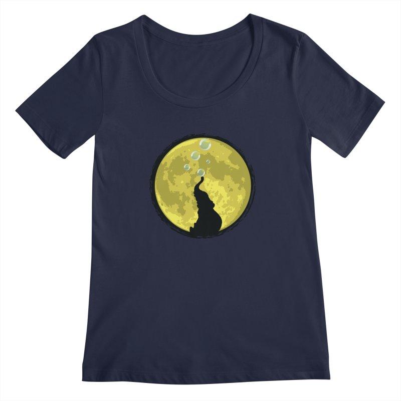 Elephant Moon Women's Regular Scoop Neck by Kamonkey's Artist Shop