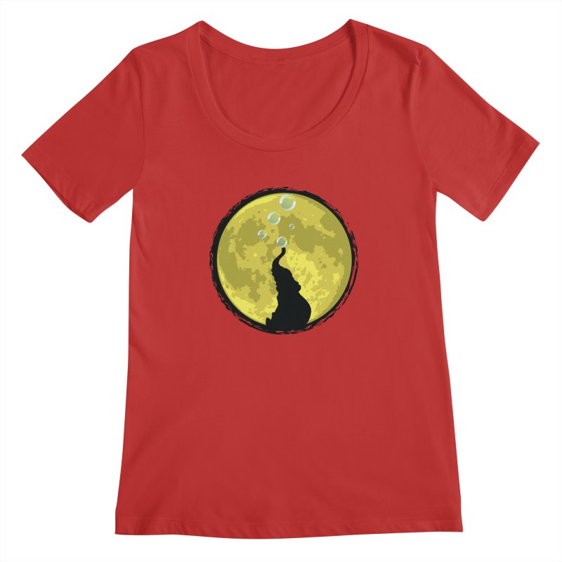 Elephant Moon Women's Regular Scoop Neck by Kamonkey's Artist Shop