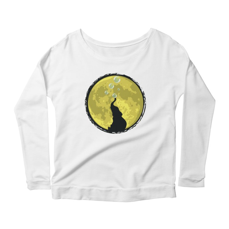 Elephant Moon Women's Scoop Neck Longsleeve T-Shirt by Kamonkey's Artist Shop