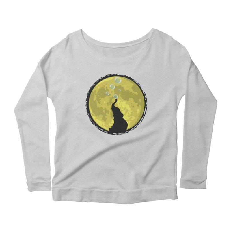 Elephant Moon Women's Scoop Neck Longsleeve T-Shirt by Kamonkey's Artist Shop