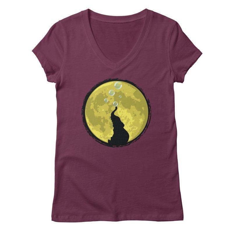 Elephant Moon Women's Regular V-Neck by Kamonkey's Artist Shop