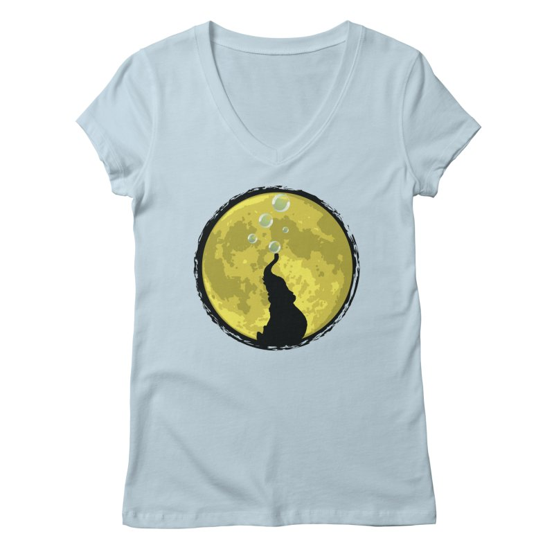 Elephant Moon Women's Regular V-Neck by Kamonkey's Artist Shop