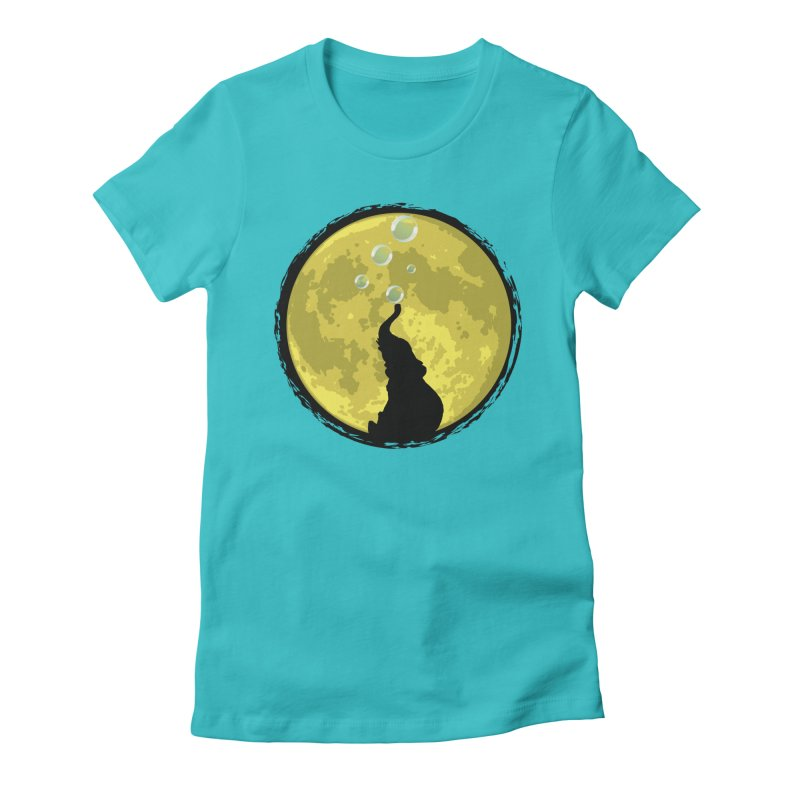 Elephant Moon Women's Fitted T-Shirt by Kamonkey's Artist Shop