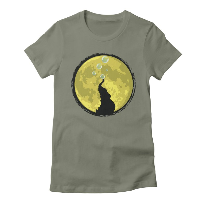 Elephant Moon Women's Fitted T-Shirt by Kamonkey's Artist Shop