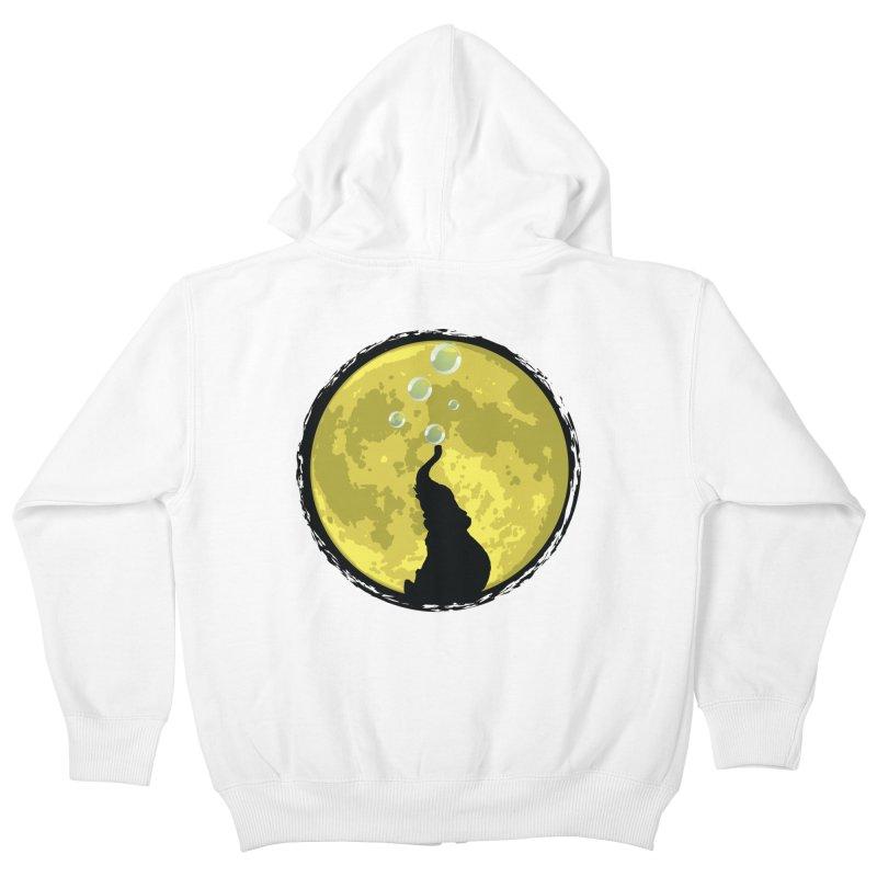 Elephant Moon Kids Zip-Up Hoody by Kamonkey's Artist Shop