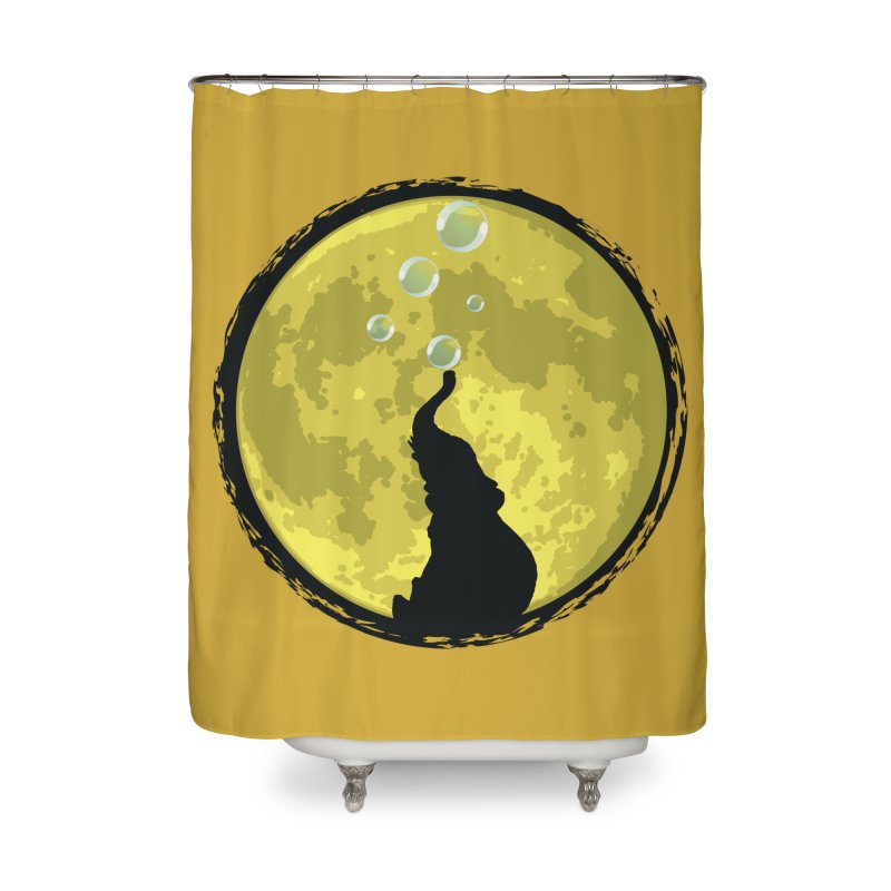 Elephant Moon Home Shower Curtain by Kamonkey's Artist Shop