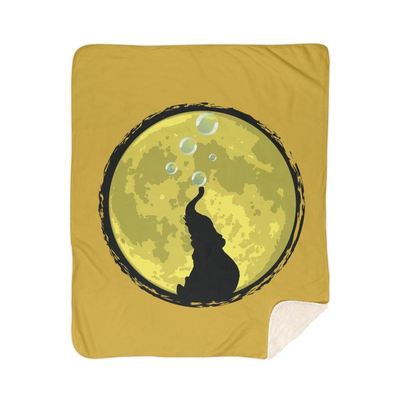 Elephant Moon Home Sherpa Blanket Blanket by Kamonkey's Artist Shop