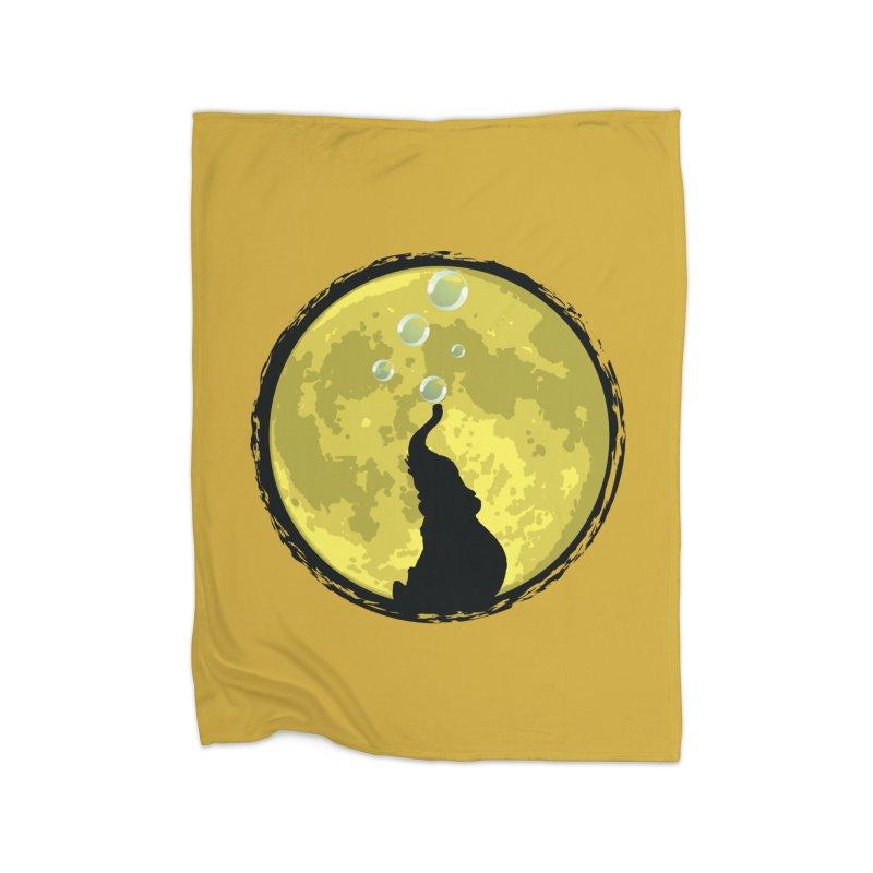 Elephant Moon Home Fleece Blanket Blanket by Kamonkey's Artist Shop