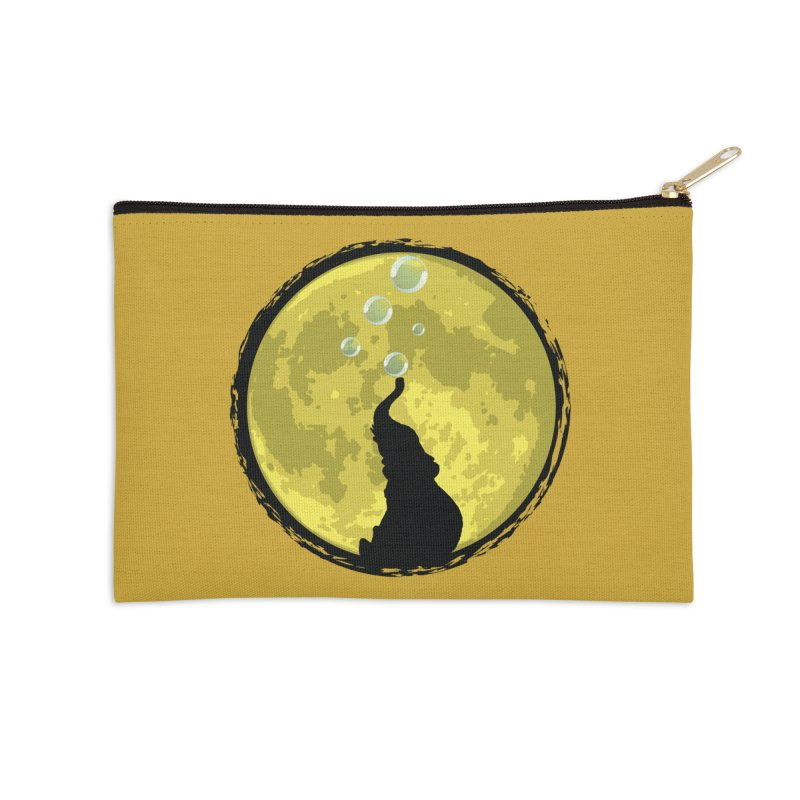 Elephant Moon Accessories Zip Pouch by Kamonkey's Artist Shop