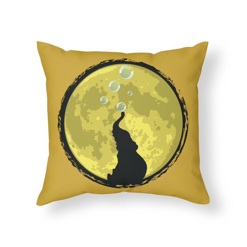 Elephant Moon Home Throw Pillow by Kamonkey's Artist Shop