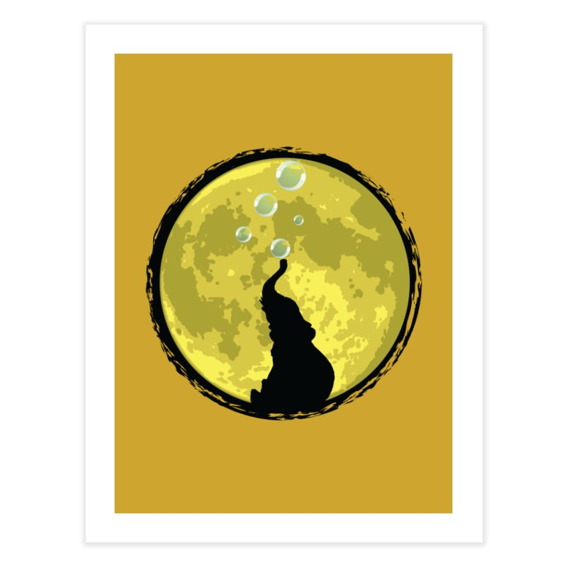 Elephant Moon Home Fine Art Print by Kamonkey's Artist Shop