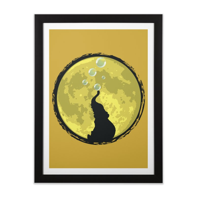 Elephant Moon Home Framed Fine Art Print by Kamonkey's Artist Shop