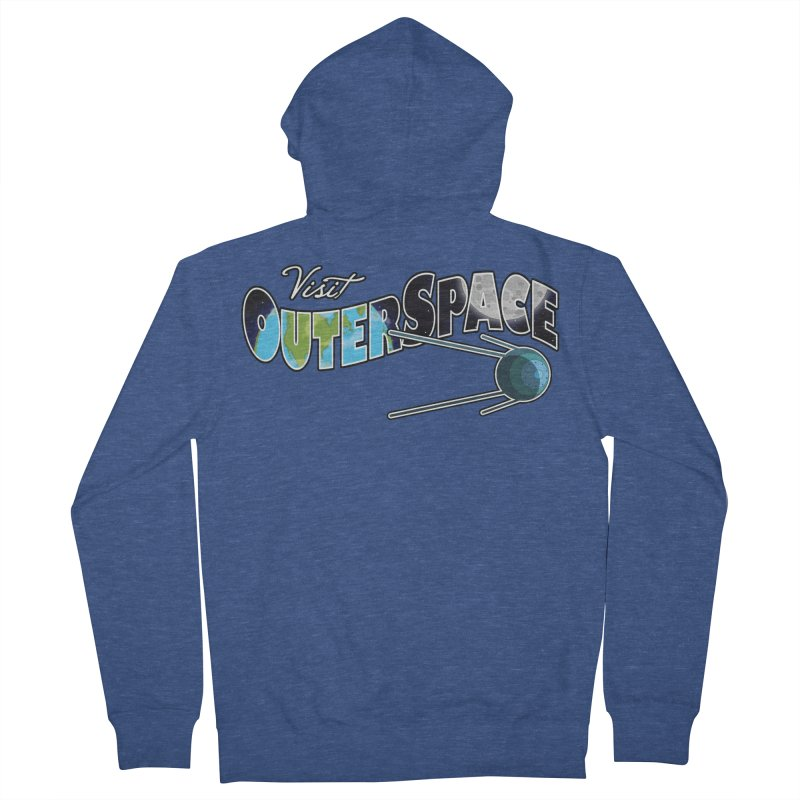 Visit Outer Space Men's French Terry Zip-Up Hoody by Kamonkey's Artist Shop