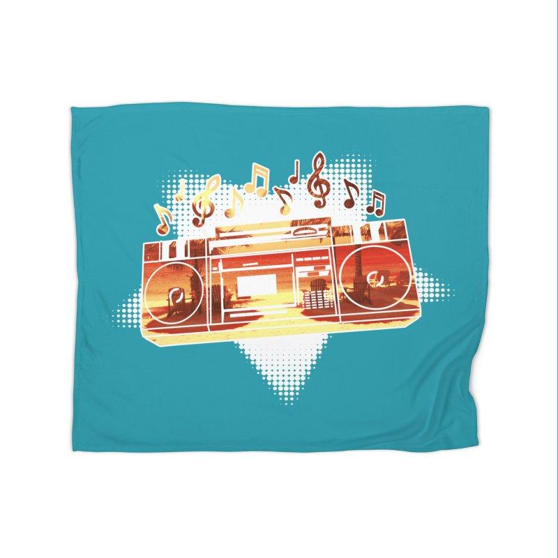 Summer Playlist, Summer Lovin' Home Fleece Blanket Blanket by Kamonkey's Artist Shop