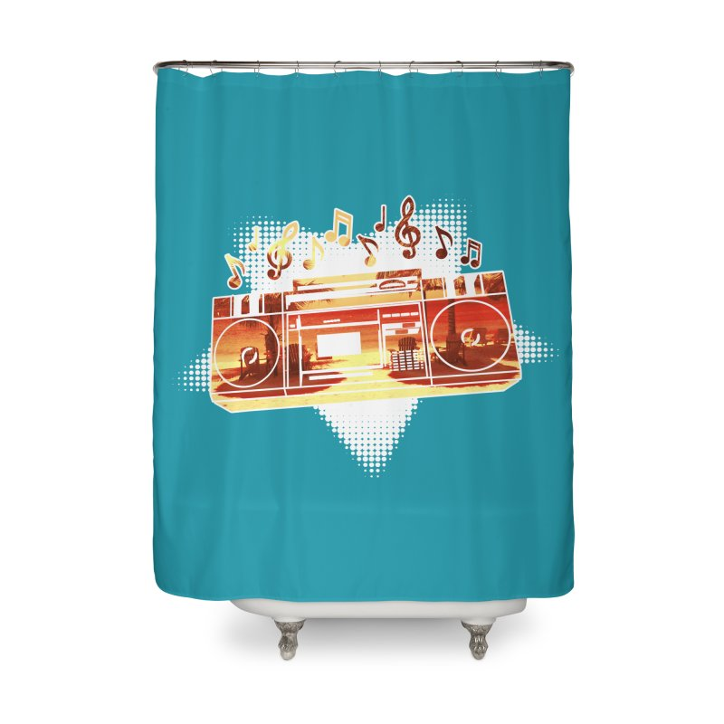 Summer Playlist, Summer Lovin' Home Shower Curtain by Kamonkey's Artist Shop