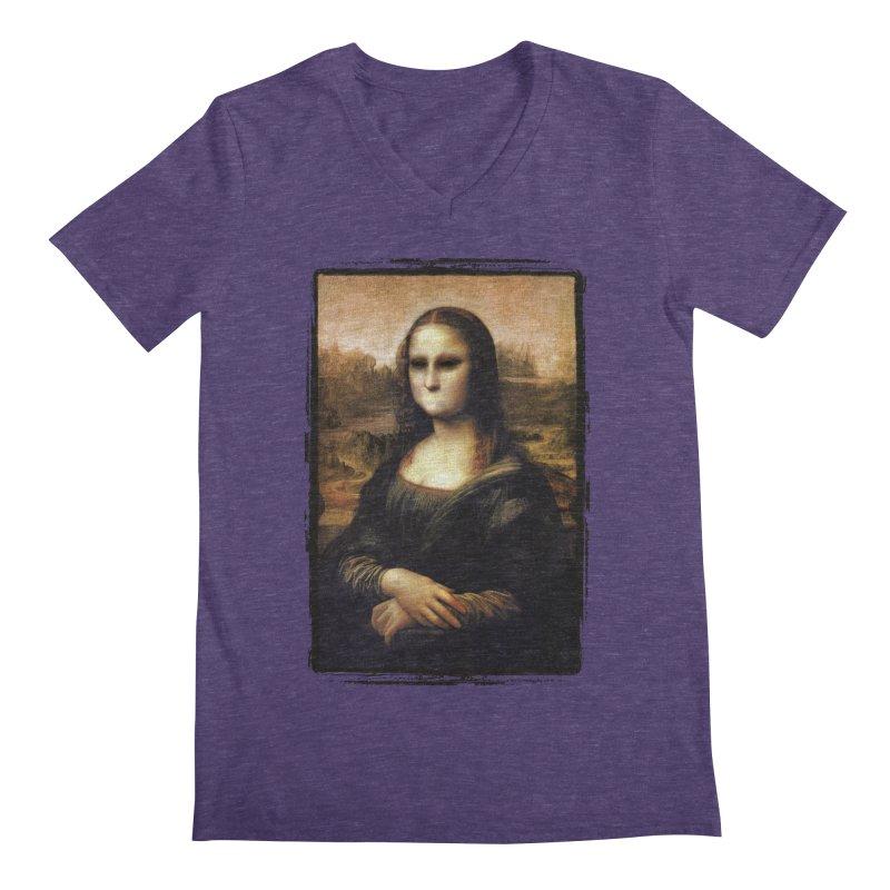 Silent Mona Lisa Men's Regular V-Neck by Kamonkey's Artist Shop