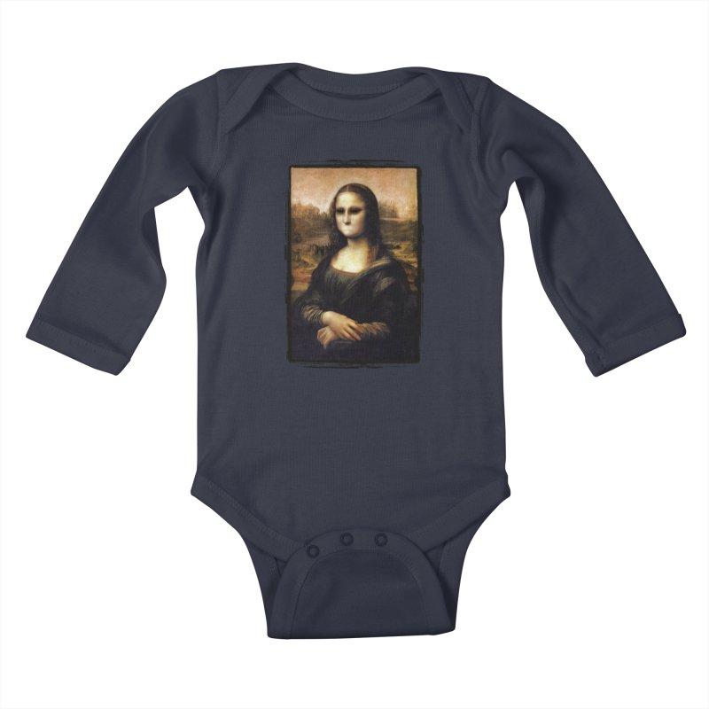 Silent Mona Lisa Kids Baby Longsleeve Bodysuit by Kamonkey's Artist Shop