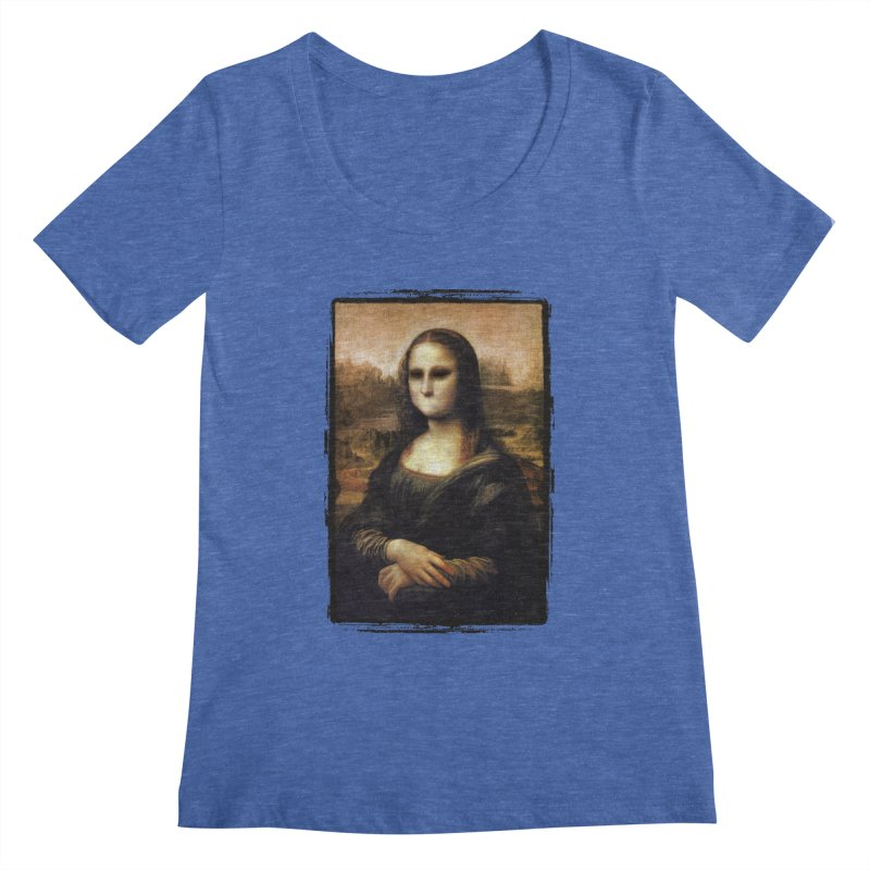 Silent Mona Lisa Women's Regular Scoop Neck by Kamonkey's Artist Shop