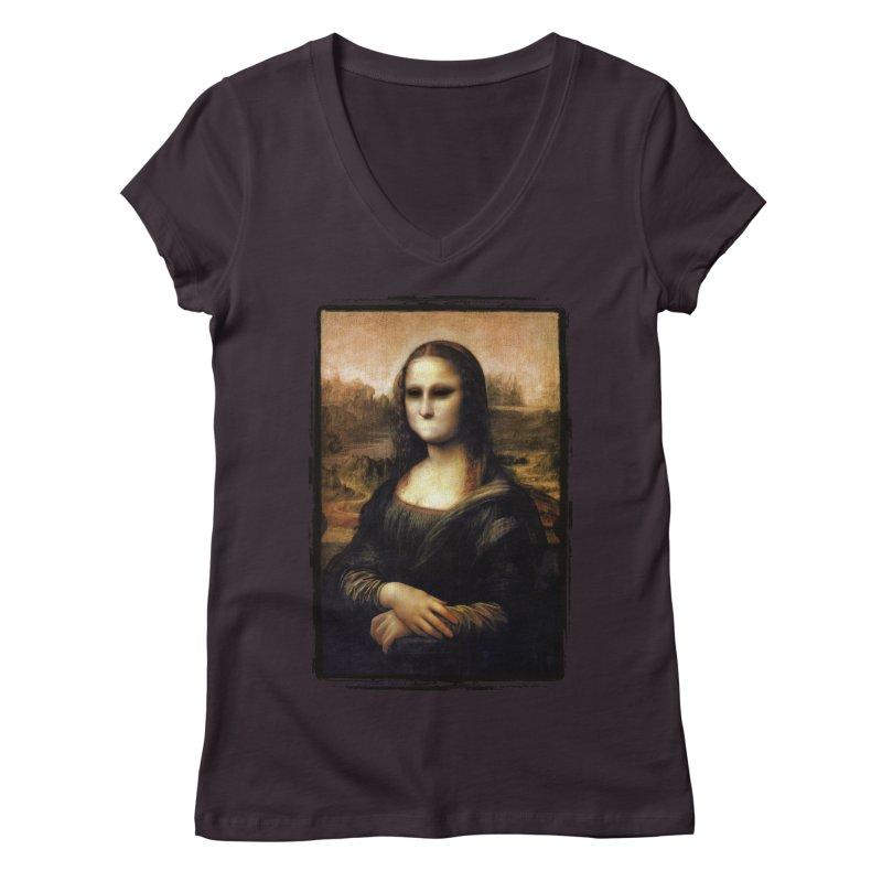Silent Mona Lisa Women's Regular V-Neck by Kamonkey's Artist Shop