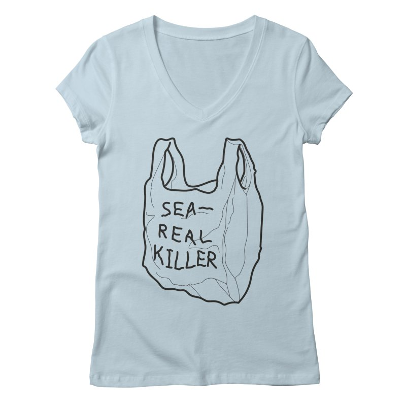 Sea Real Killer (Bright) Women's Regular V-Neck by Kika