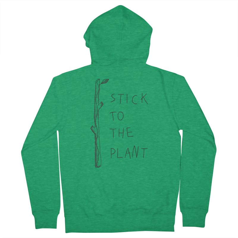 Stick to the Plant (bright) Women's French Terry Zip-Up Hoody by Kika
