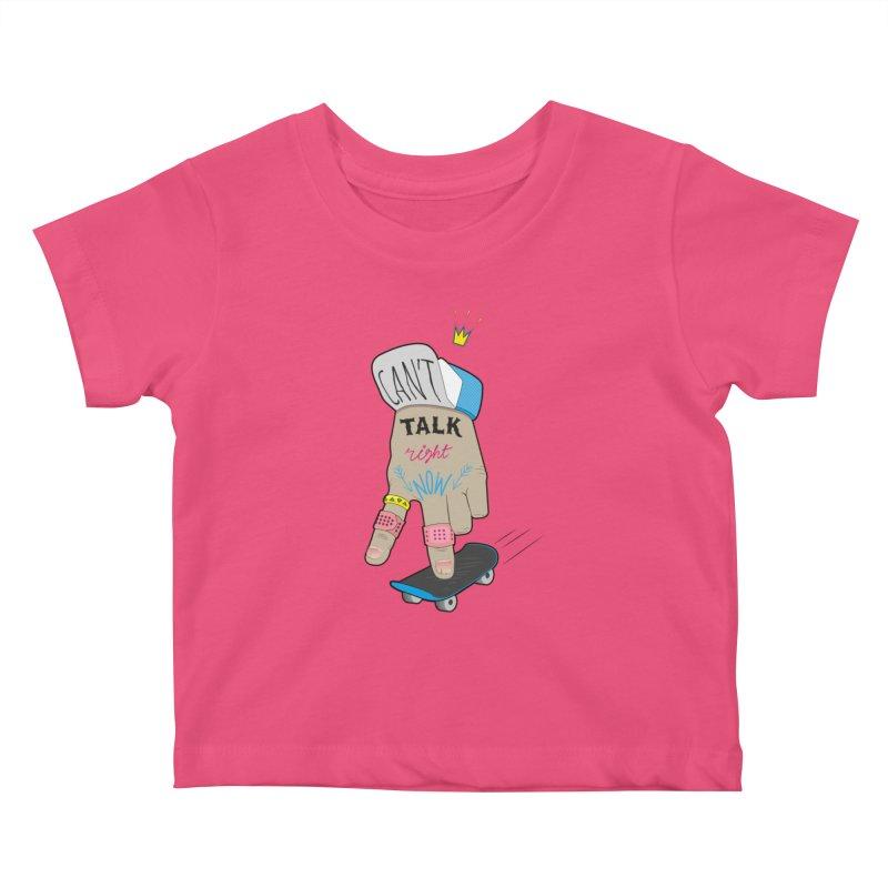 Can't Talk Right Now Kids Baby T-Shirt by Karina Zlott