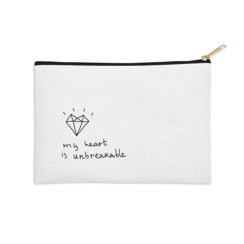 My Heart is Unbreakable Accessories Zip Pouch by Karina Zlott