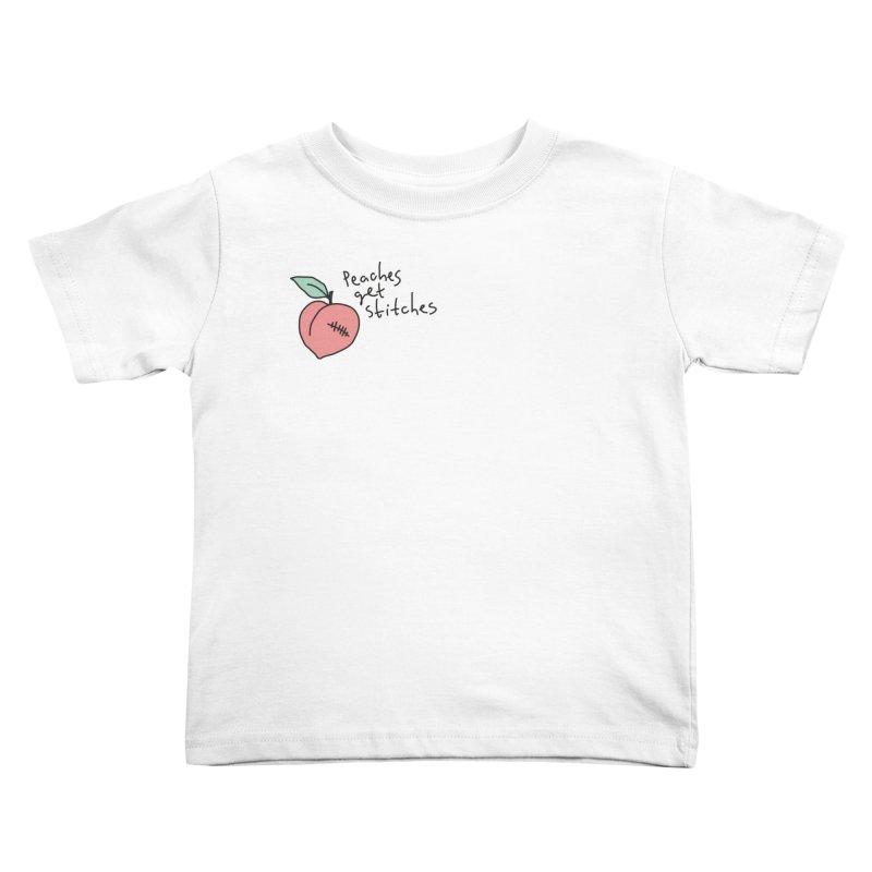 Peaches get stitches Kids Toddler T-Shirt by Karina Zlott