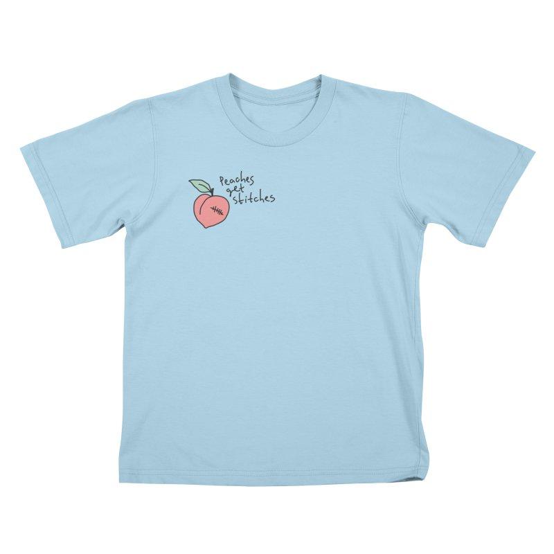 Peaches get stitches Kids T-Shirt by Karina Zlott