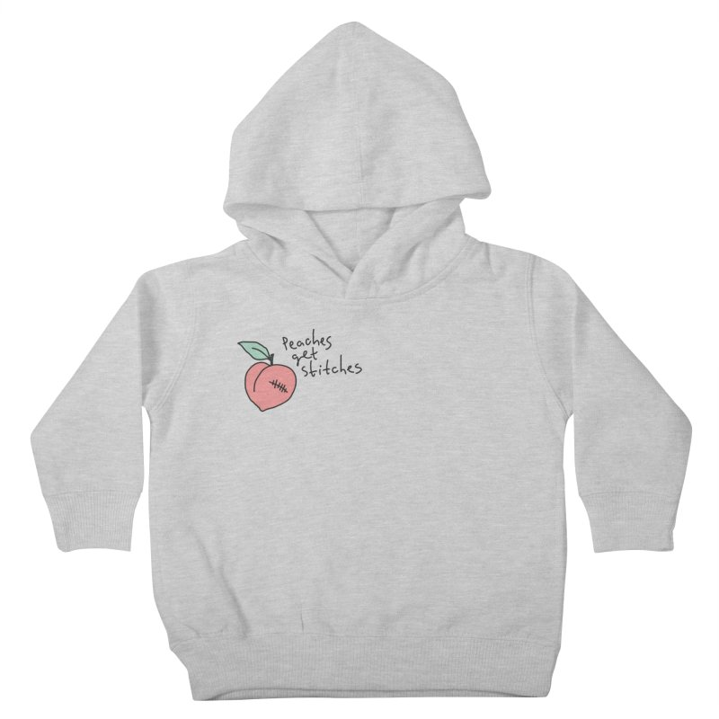 Peaches get stitches Kids Toddler Pullover Hoody by Karina Zlott
