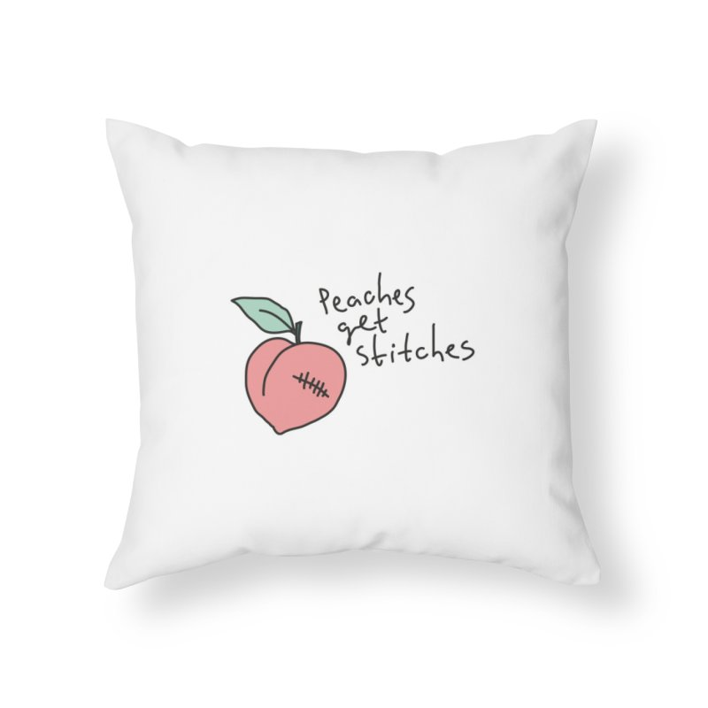 Peaches get stitches Home Throw Pillow by Karina Zlott
