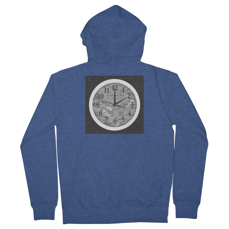"""Time and a Map 1"" Men's French Terry Zip-Up Hoody by Karmic Reaction Art"