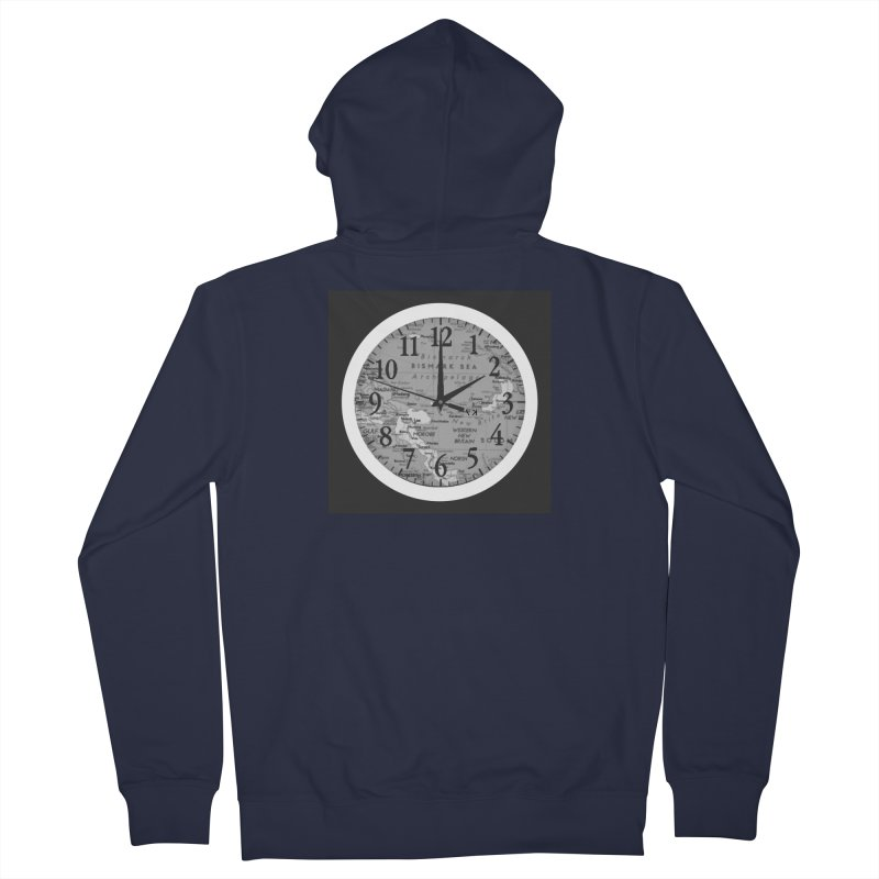 """""""Time and a Map 1"""" Men's French Terry Zip-Up Hoody by Karmic Reaction Art"""