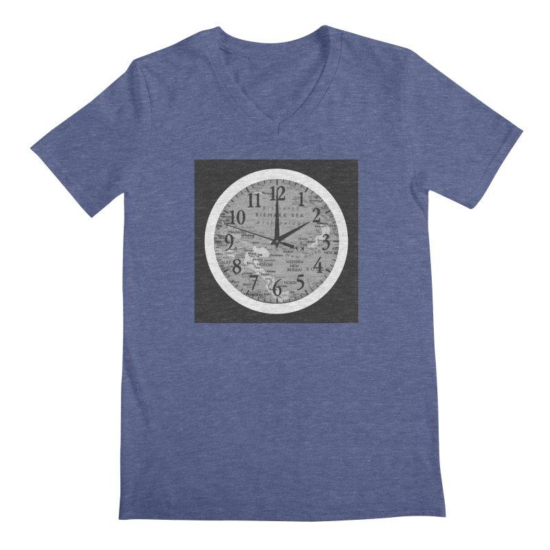 """Time and a Map 1"" Men's Regular V-Neck by Karmic Reaction Art"