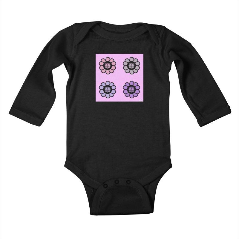 Flower Power and Peace Kids Baby Longsleeve Bodysuit by Karmic Reaction Art