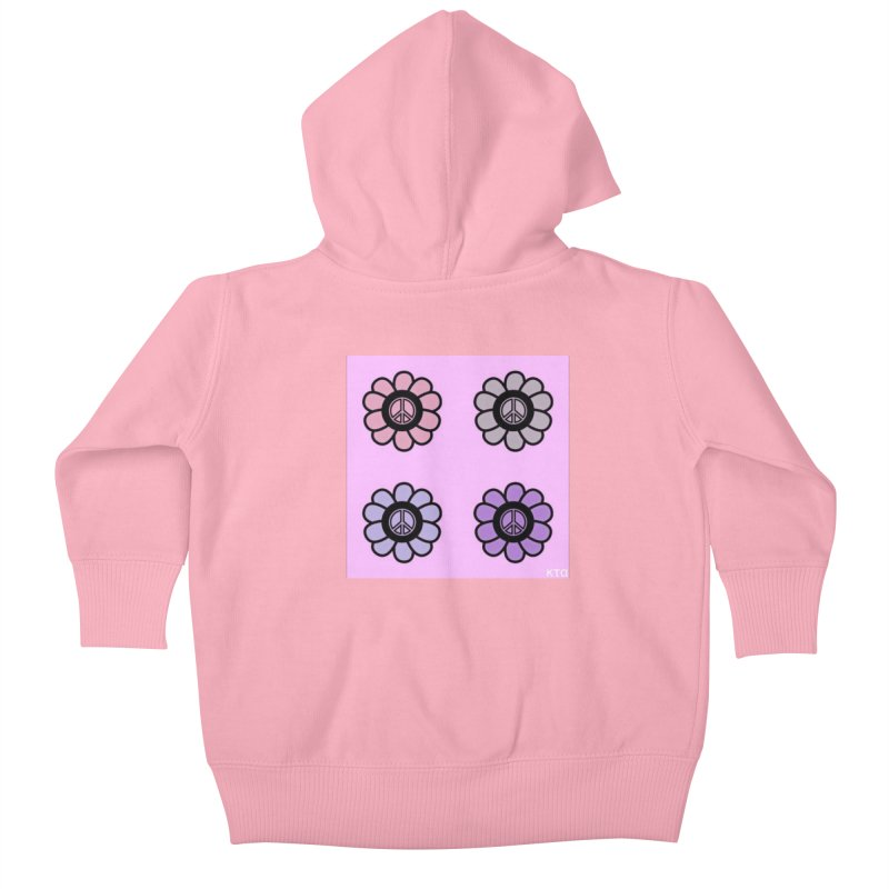 Flower Power and Peace Kids Baby Zip-Up Hoody by Karmic Reaction Art